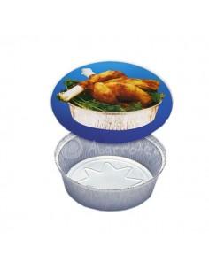 Tapa Cartón para Envase Aluminio Redondo - 1/2 Pollo y 1 Pollo - Punto Químico - Caja